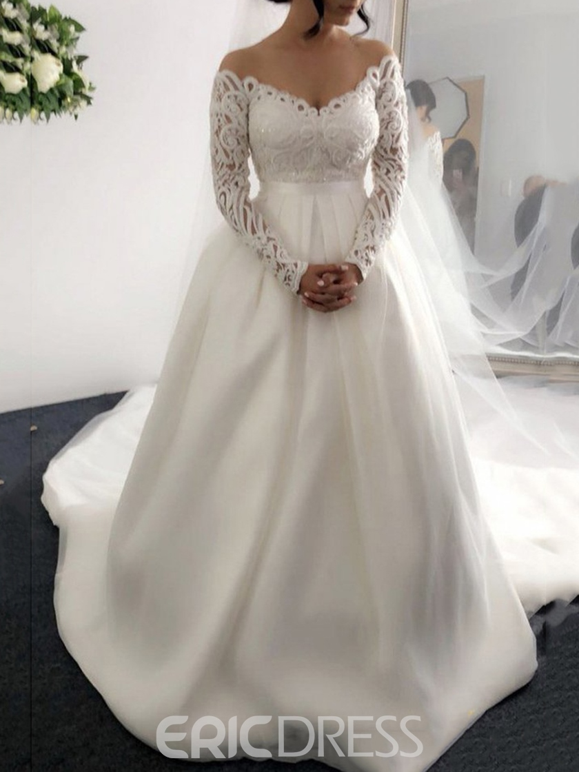 Ericdress Sequins Lace Long Sleeves Wedding Dress 2019