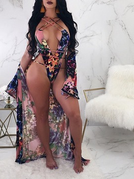 Ericdress Floral Beach Look One Piece Swimwear