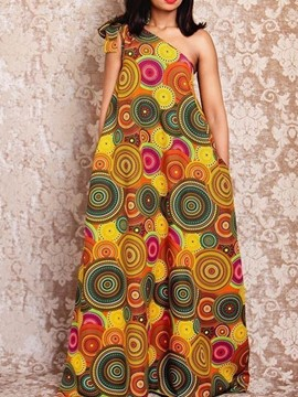 Ericdress Sleeveless Print Floor-Length Western Geometric Dress
