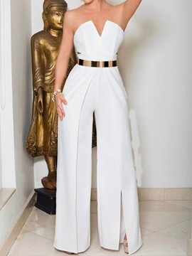 Ericdress Split Plain Wide Legs Slim High Waist Jumpsuit(Without Belt)