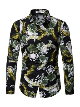 Ericdress Floral Print Mens Shirt