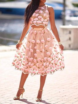 Ericdress Floral See-Through Print Expansion Vest And Skirt Two Piece Sets