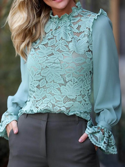 Ericdress Lace Plain See-Through Long Sleeve Blouse