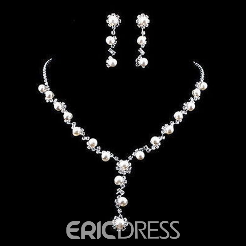 Necklace Korean Pearl Inlaid Jewelry Sets (Wedding)