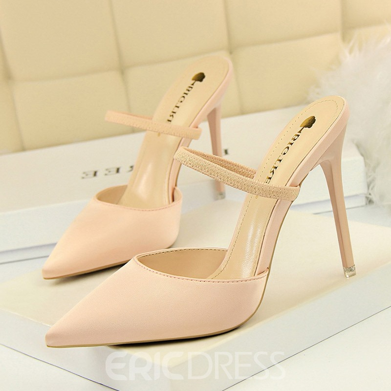 Ericdress Plain Stiletto Heel Closed Toe Women's Mules Shoes