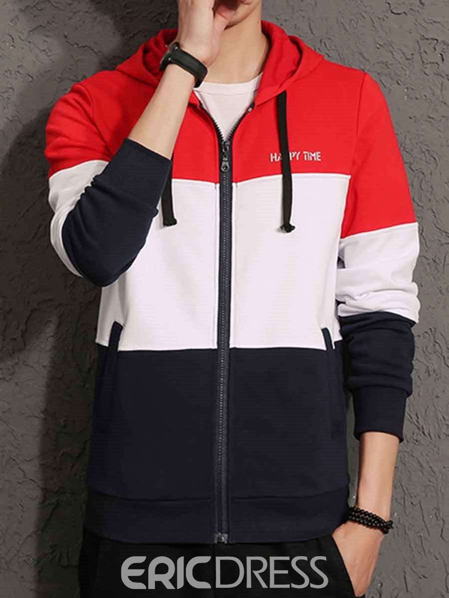 Ericdress Color Block Cardigan Casual Men's Zipper Hoodies