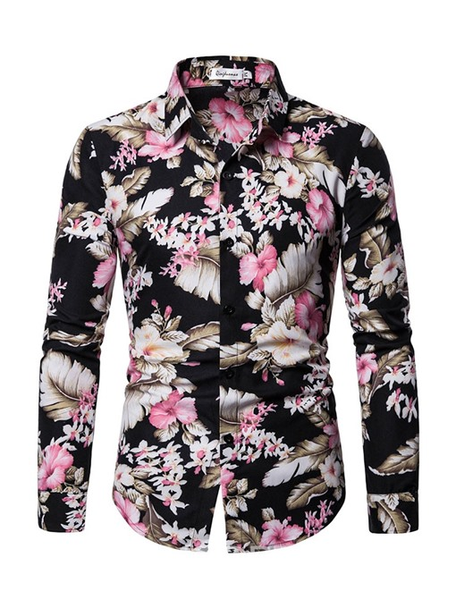 Ericdress Casual Print Floral Mens Shirt