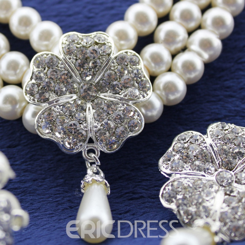 Heart-Shaped Gemmed Korean Jewelry Sets
