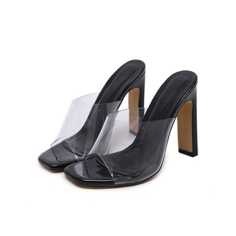Ericdress PVC Chunky Heel Women's Mules Shoes