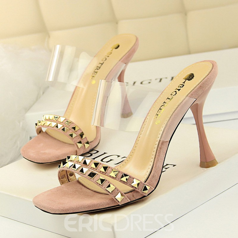 Ericdres Rivet PVC Shaped Heel Women's Mules Shoes