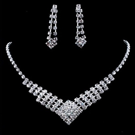 Earrings Diamante Floral Jewelry Sets (Wedding)