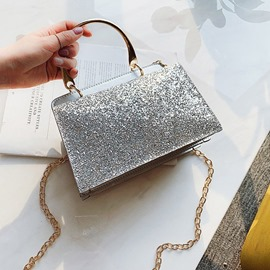 Ericdress Plain Sequins PU Rectangle Crossbody Bags