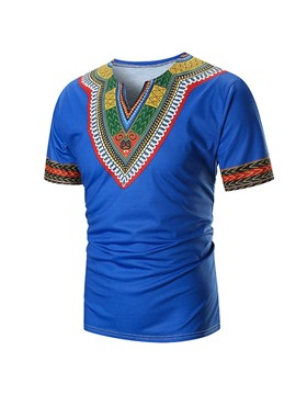Ericdress Color Block Ethnic Mens Straight Dashiki Short Sleeve T-shirt