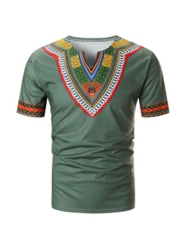 Ericdress Color Block Ethnic Straight Mens Dashiki Short Sleeve T-shirt