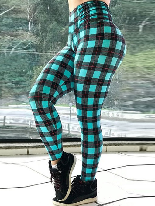 Ericdress Women Plaid Print Full Length Fitness Yoga Leggings