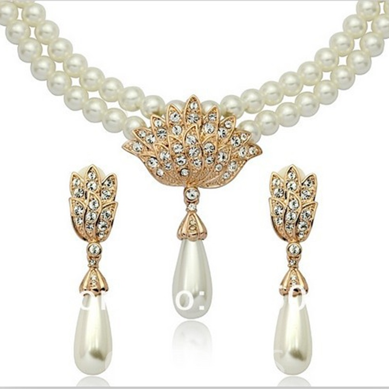 Korean Floral Diamante Jewelry Sets (Wedding)