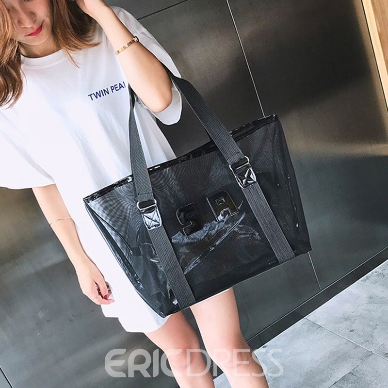 Ericdress Letter ABS Plastic Applique Square Tote Bags