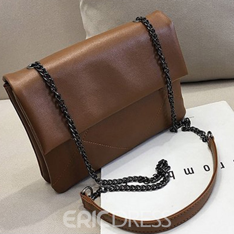 Ericdress PU Plaid Chain Rectangle Shoulder Bags