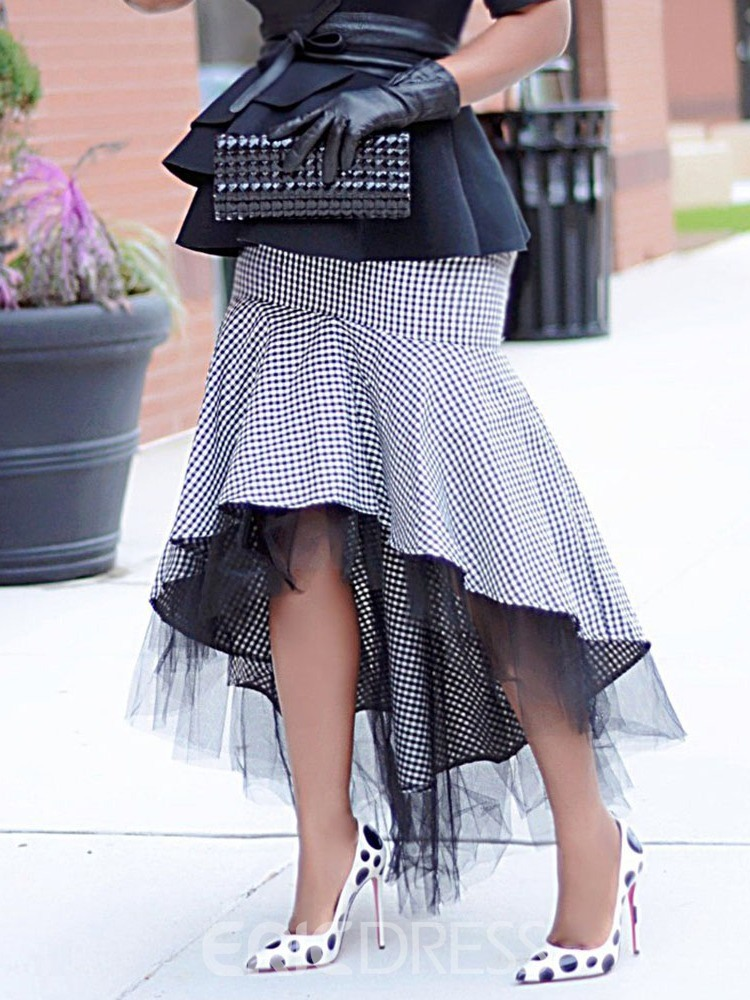 Ericdress Houndstooth Floor-Length Patchwork Fashion Skirt