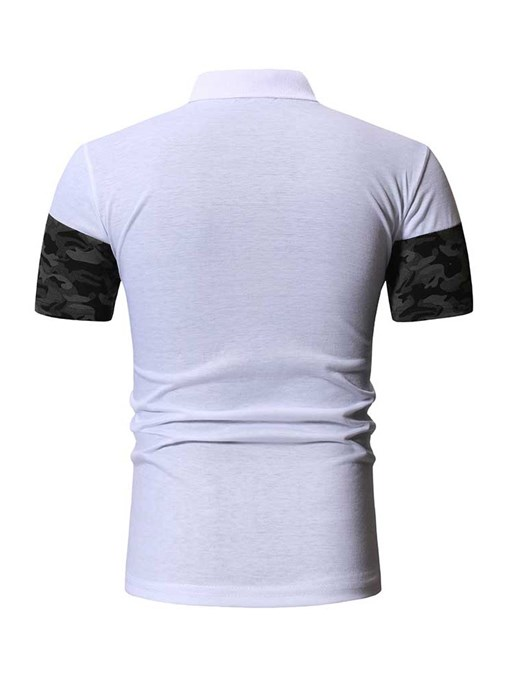 Ericdress Casual Patchwork Mens Short Sleeve Slim T-shirt
