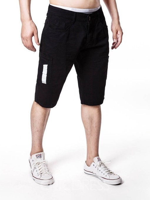 Ericdress Straight Color Block Mid Waist Mens Casual Shorts