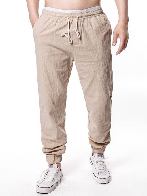 Ericdress Lace-Up Plain Mens Casual Pants