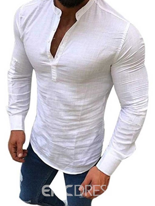 Ericdress Casual Stand Collar Plain Mens Slim Shirt