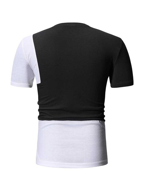 Ericdress Casual Round Neck Color Block Mens Slim T-shirt