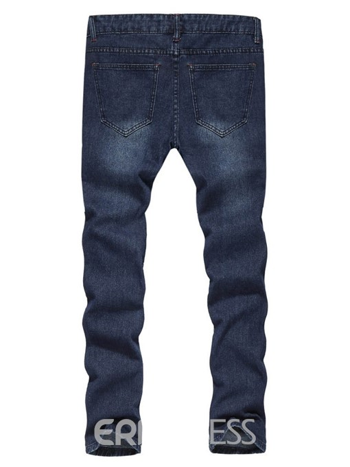 Ericdress Hole Casual Mens Mid Waist Jeans
