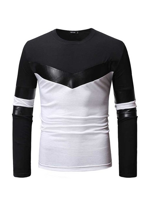 Ericdress Round Neck Color Block Patchwork Mens Slim T-shirt