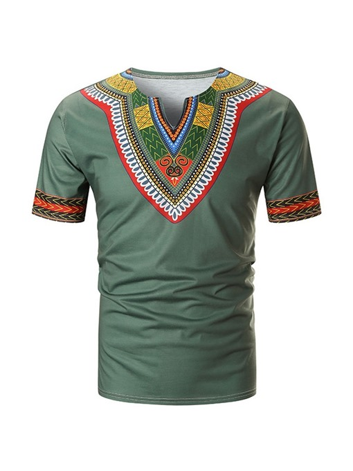 Ericdress African Fashion Color Block Ethnic Straight Mens Dashiki T-shirt