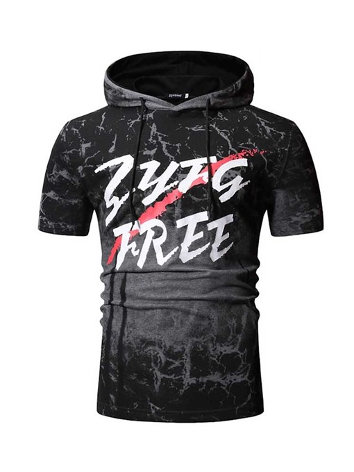 Ericdress Hooded Casual Letter Mens Short Sleeve Slim T-shirt