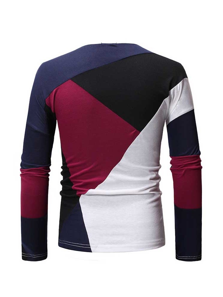 Ericdress Round Neck Patchwork Casual Mens Slim T-shirt