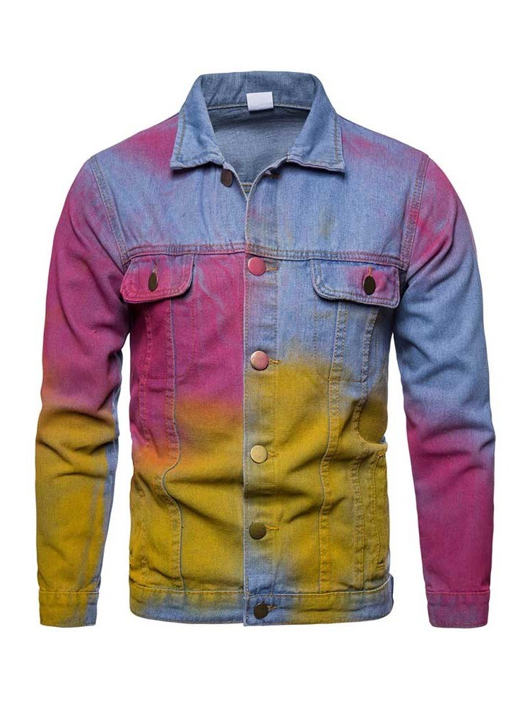 Ericdress Color Block Lapel Casual Mens Single-Breasted Jacket