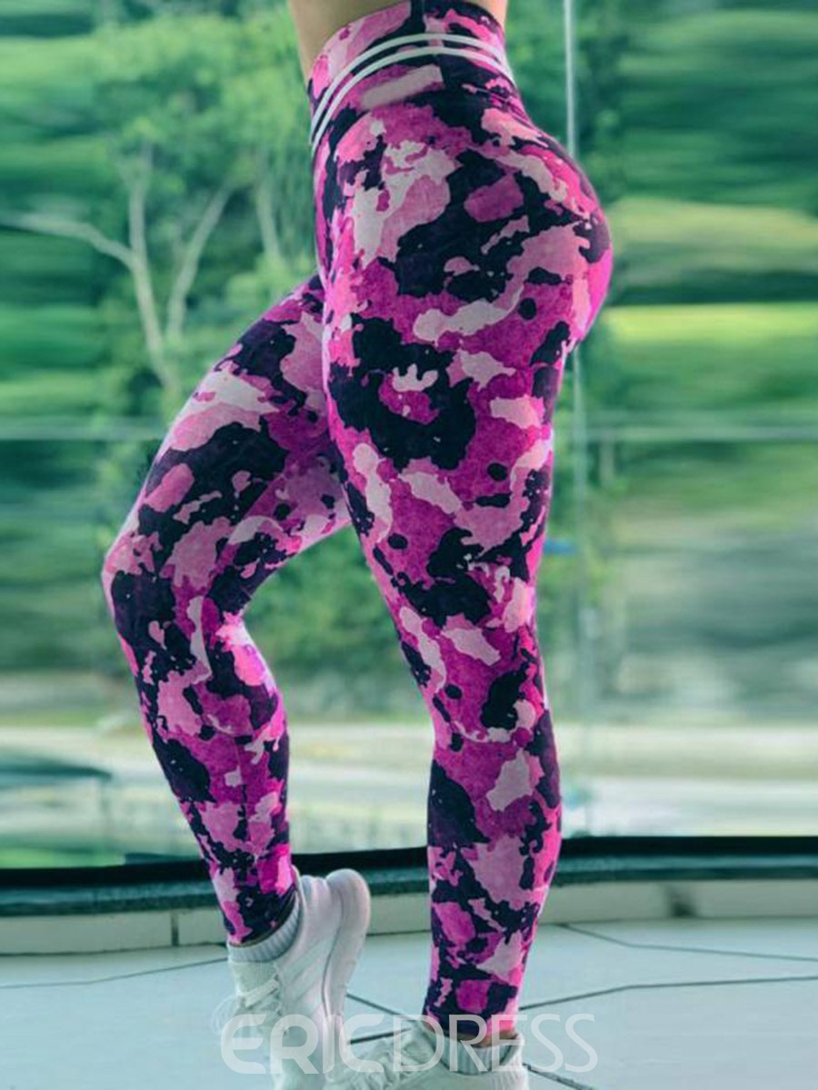 Ericdress Women Camouflage Print Full Length Push Up Sports Leggings