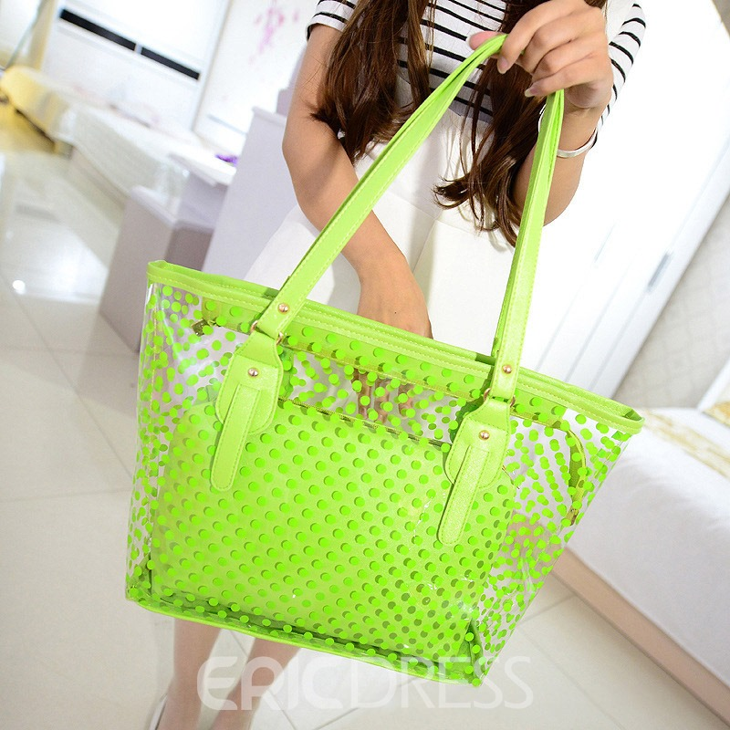Ericdress Polka Dots PVC Thread Rectangle Tote Bags