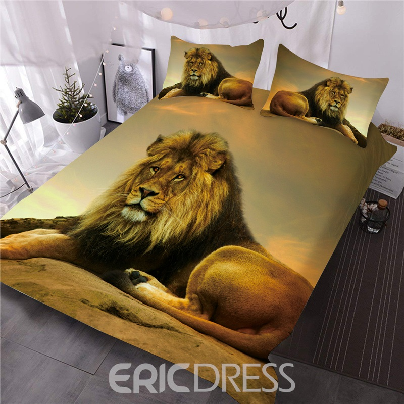Animal Polyester Comforter Set Three-Piece Set Reactive Printing