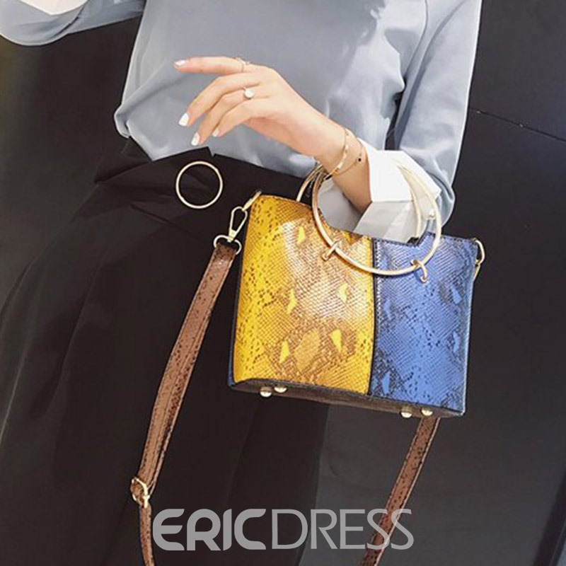 Ericdress PU Serpentine Color Block Square Shoulder Bags