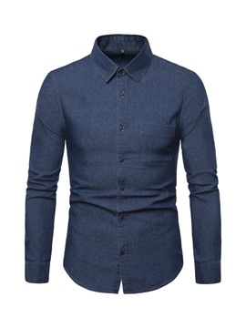 Ericdress Plain Lapel Casual Slim Mens Single-Breasted Shirt