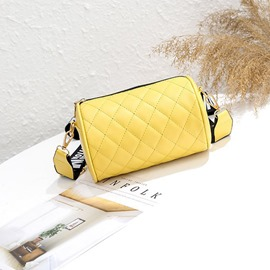 Ericdress Plaid Quilted Lining PU Circular Crossbody Bags