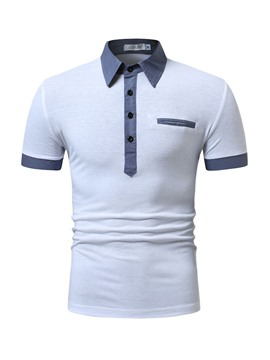 Ericdress Slim Color Block Mens Casual Polo Shirt