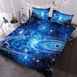 Starry Sky Polyester Three-Piece Set Comforter Set Reactive Printing