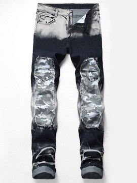 Ericdress Camouflage Patchwork Straight European Mens Zipper Jeans