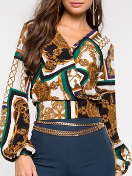 Ericdress African Fashion V-Neck Vintage Blouse