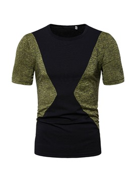 Ericdress Korean Round Neck Patchwork Mens Slim T-shirt