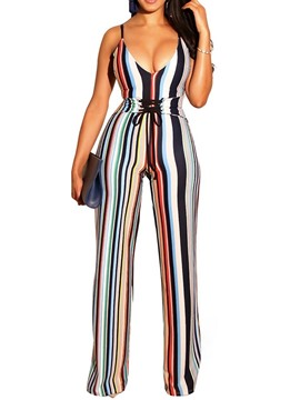 Ericdress Sexy Lace-Up Stripe Slim Mid Waist Jumpsuit