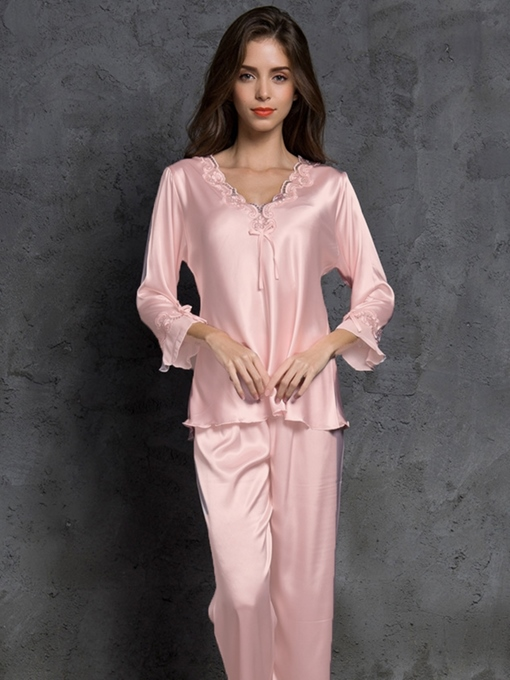 Ericdress Plain Bowknot V-Neck Women's Pajama Set
