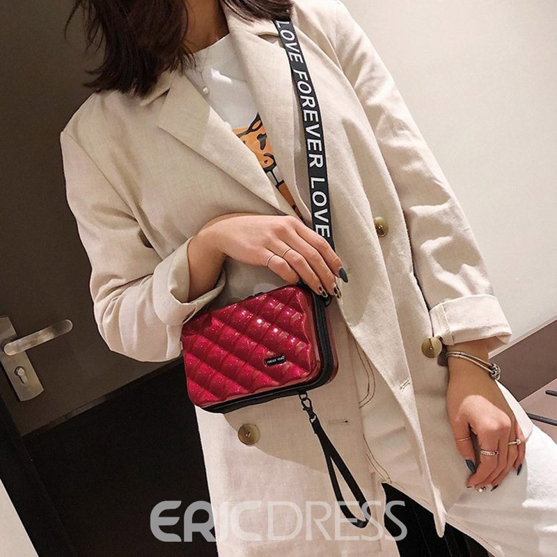 Ericdress Plaid Embossing PVC Flap Crossbody Bags