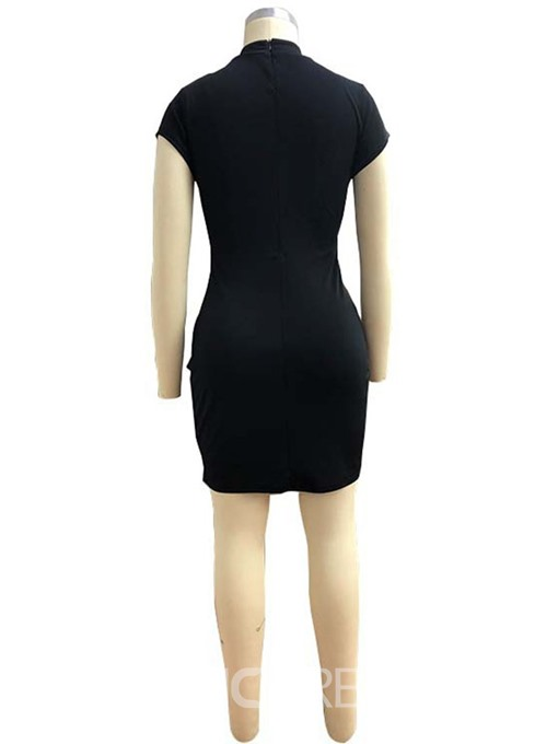 Ericdress Stand Collar Short Sleeve Above Knee Bodycon Fashion Dress