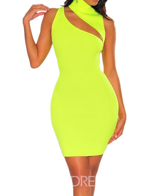 Ericdress Knee-Length Sleeveless Hollow Pullover Hollow Bodycon Dress